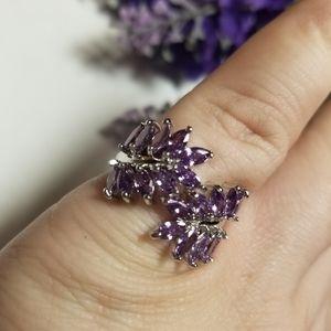 Gorgeous Amethyst Leaf Ring